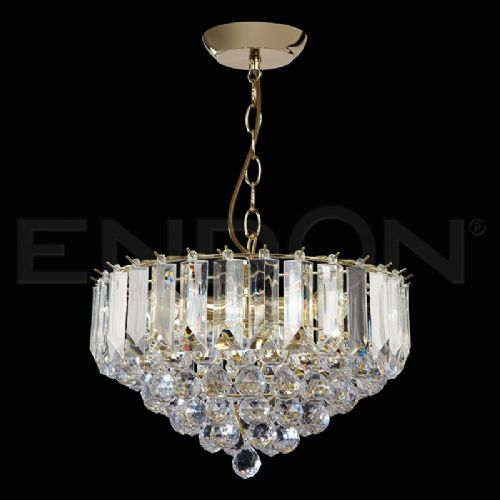 "3 X 60W BRASS ACRYLIC PENDANT 14"" DIAMETER (updated version of T-599-14) FARGO-14BP"